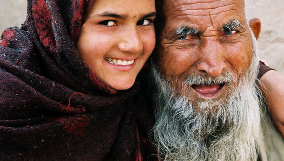 Photo: Muhajira, a Pathan girl and her grandfather in Peshawar city in North West Frontier Province.